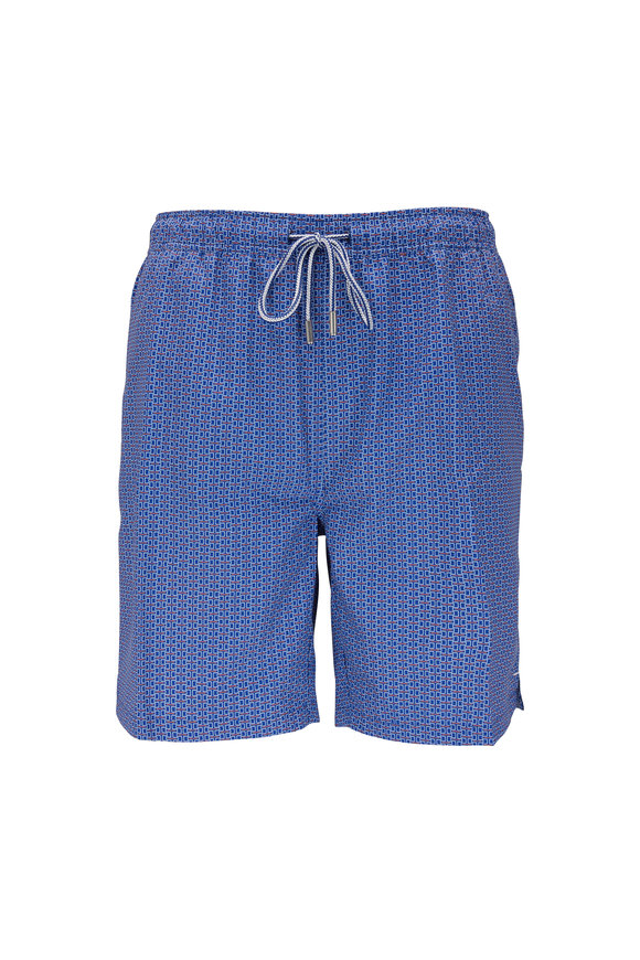 Peter Millar Blue & Orange Lowtide Lattice Print Swim Trunks