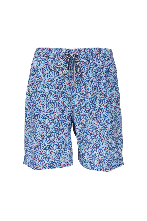 Peter Millar Blue Monstera Leaf Print Swim Trunks