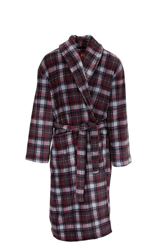 Majestic Black Plaid Plush Fleece Robe