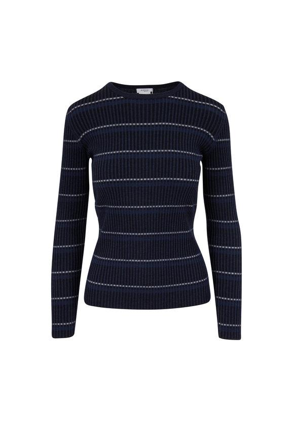 Akris Punto Navy Shadow Stripe Lightweight Wool Crewneck Top