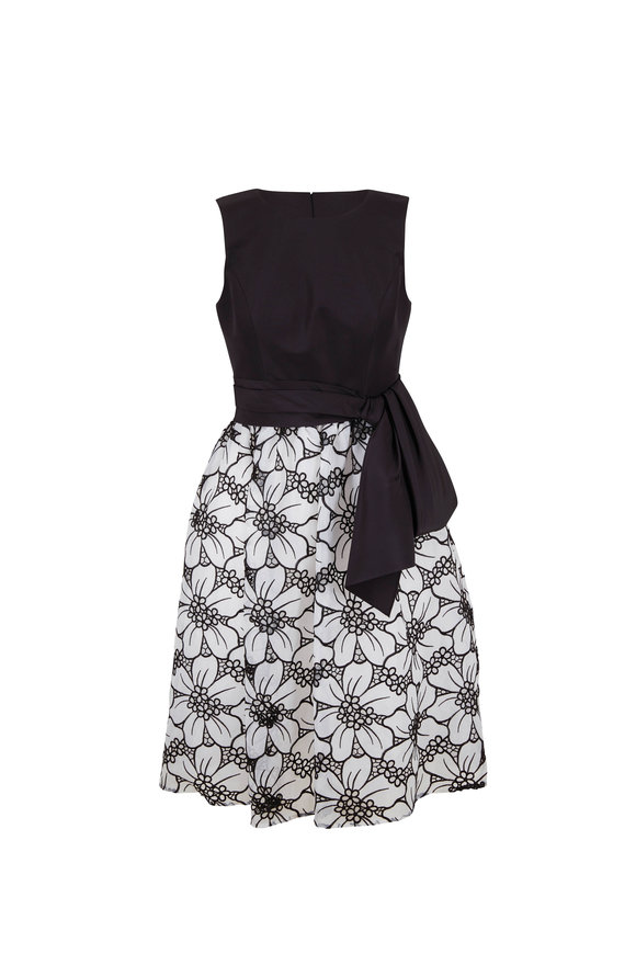 Carolina Herrera Black & White Lasercut Floral A-Line Dress