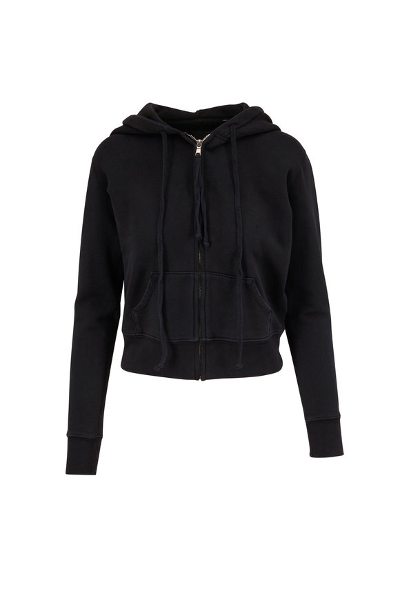Nili Lotan Callie Washed Black Zip-Up Hoodie