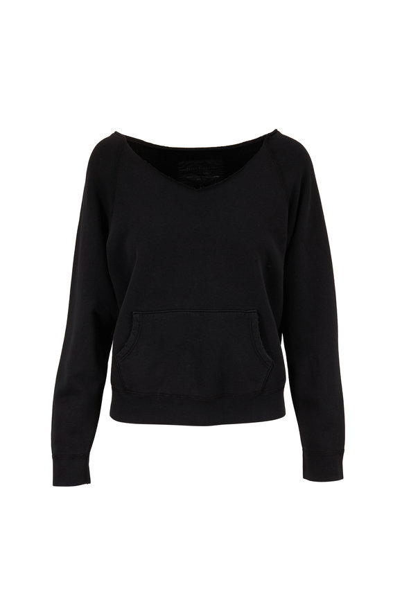 Nili Lotan Tiara Washed Black V-Neck Sweatshirt