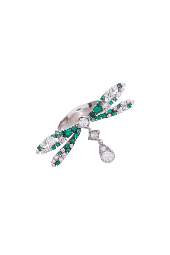 Mariani White Gold Diamond & Emerald Dragonfly Ring