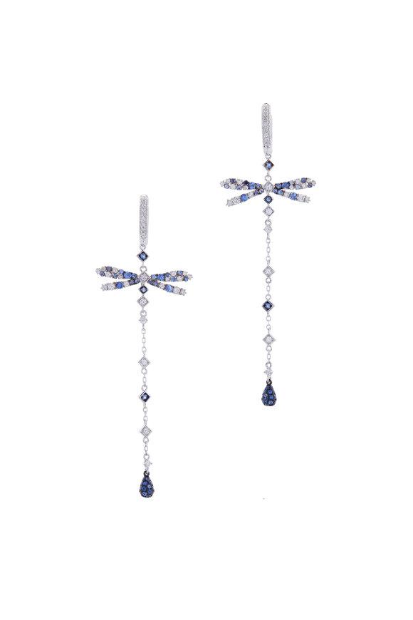 Mariani White Gold Diamond & Sapphire Dragonfly Earrings