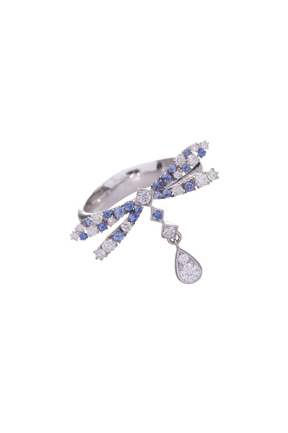 Mariani 18K White Gold Diamond & Sapphire Dragonfly Ring