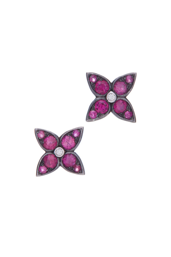 Mariani 18K White Gold Ruby Petal Earrings