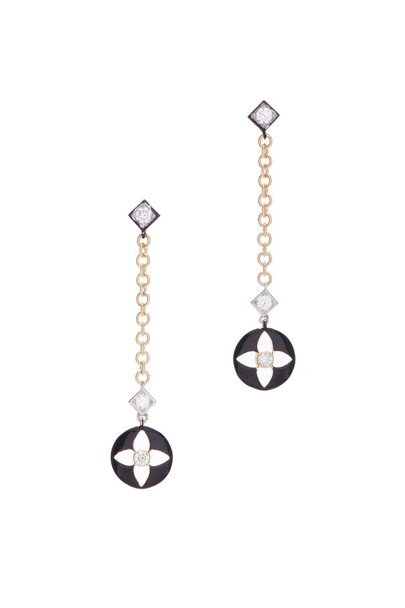 Mariani 18K Yellow Gold Black Pendant Chain Earrings