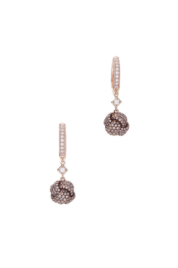 Mariani 18K Yellow Gold Diamond Knot Ball Earrings