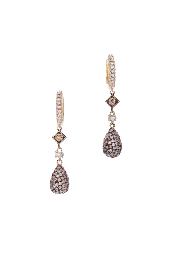 Mariani 18K Yellow Gold Diamond Teardrop Earrings