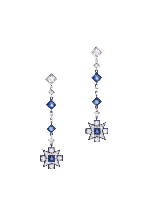 Mariani 18K White Gold Diamond & Sapphire Dangle Earrings