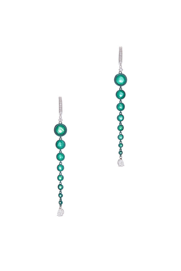 Mariani 18K White Gold Emerald & Diamond Earrings
