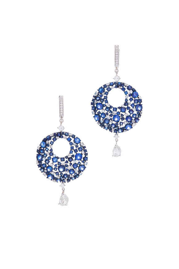 Mariani 18K White Gold Diamond & Sapphire Earrings