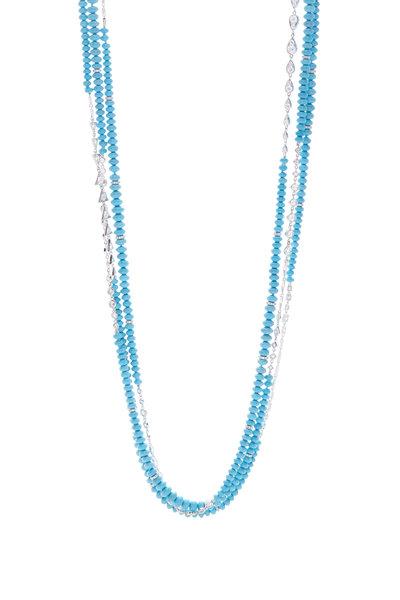 Mariani - 18K White Gold Turquoise & Diamond Bead Necklace