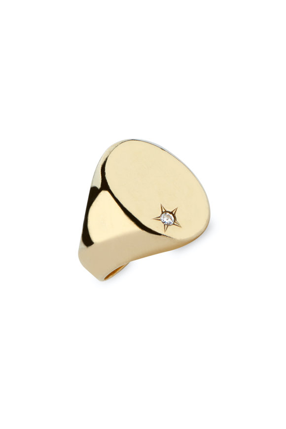 Dru 14K Yellow Gold Classic Star Signet Ring