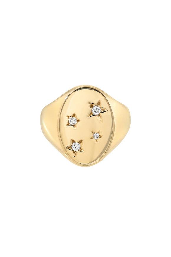 Dru 14K Yellow Gold Stars Signet Ring