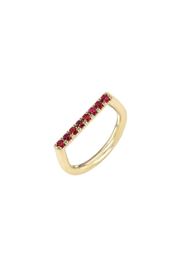 Dru 14K Yellow Gold Ruby Square Stacking Ring
