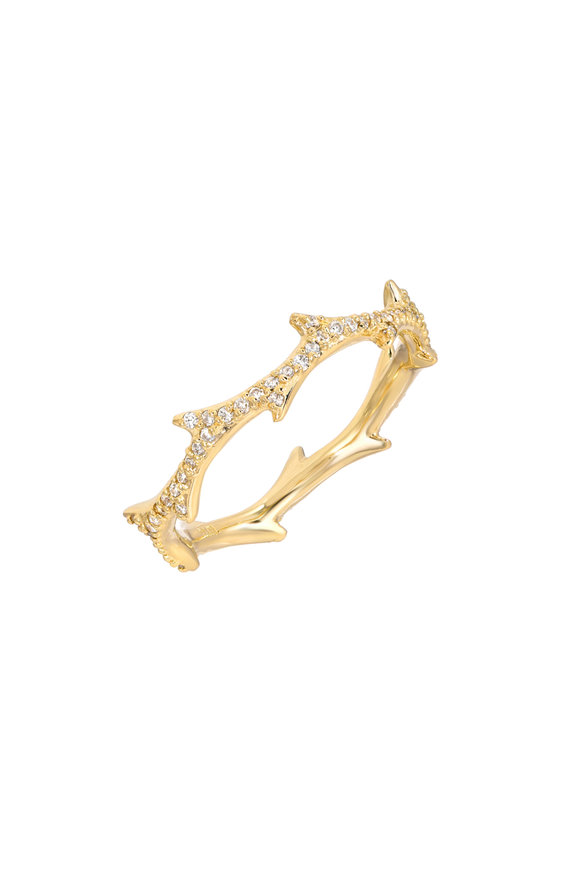 Dru 14K Yellow Gold Crown Of Thorns Pavé Ring