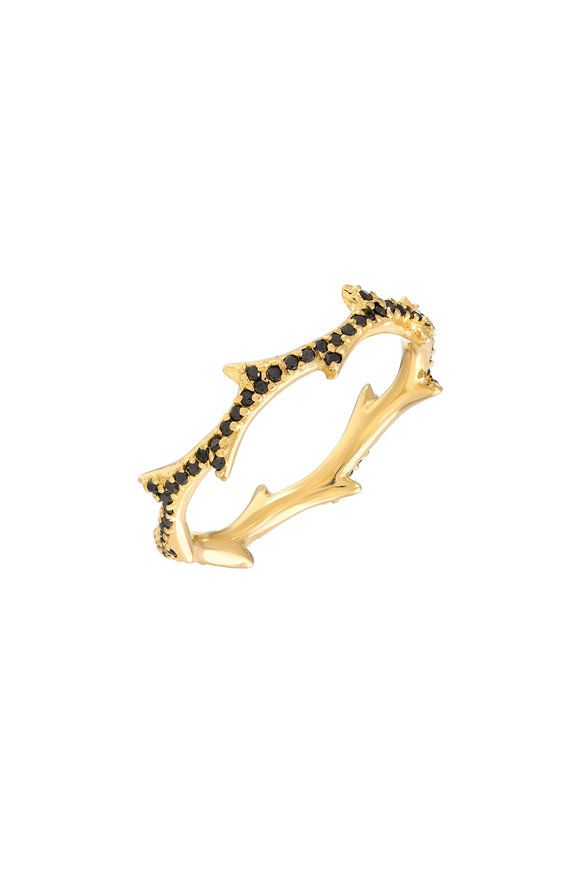 Dru Yellow Gold Black Diamond Pavé Crown Of Thorn Ring