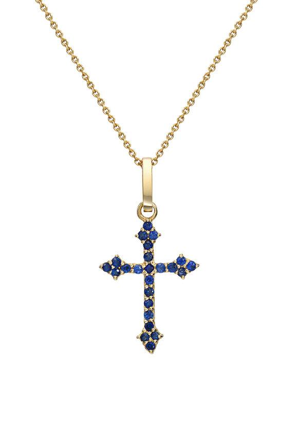 Dru 14K Yellow Gold Black Diamond Baby Cross Pendant