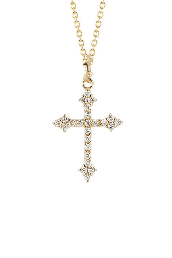 Dru 14K Yellow Gold White Diamond Gothic Cross