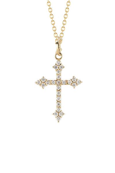 Dru - 14K Yellow Gold White Diamond Gothic Cross
