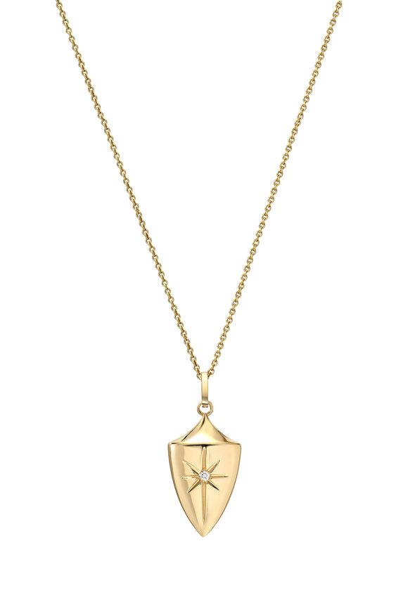 Dru 14K Yellow Gold Diamond Star Shield Pendant
