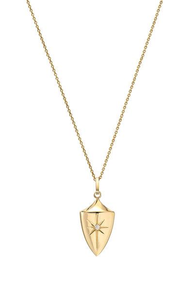 Dru - 14K Yellow Gold Diamond Star Shield Pendant
