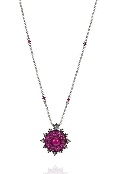 Nam Cho - White Gold Red Ruby Diamond Bullseye Necklace