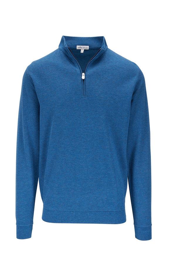 Peter Millar Dark Blue Interlock Quarter-Zip Pullover