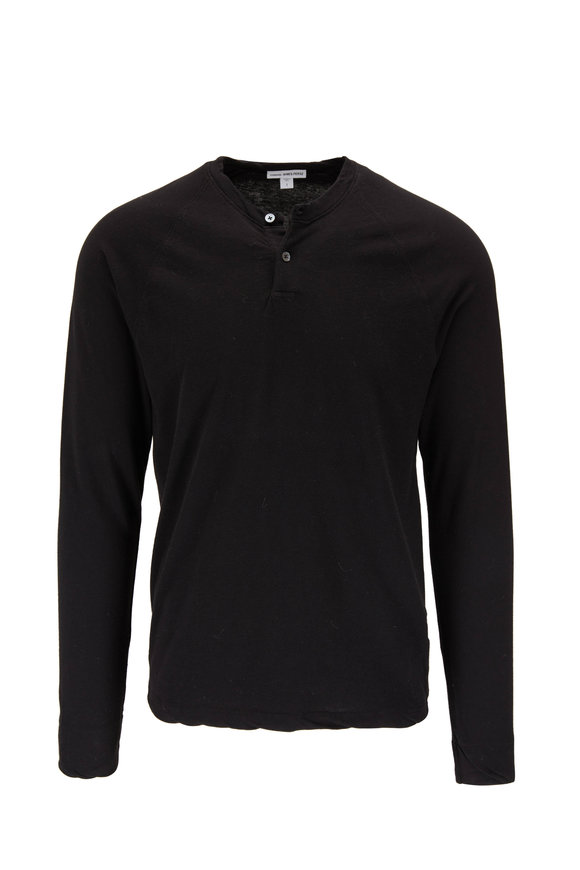 James Perse Black Cotton Raglan Sleeve Henley