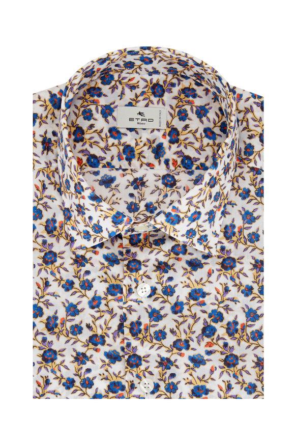 Etro Blue & White Floral Sport Shirt