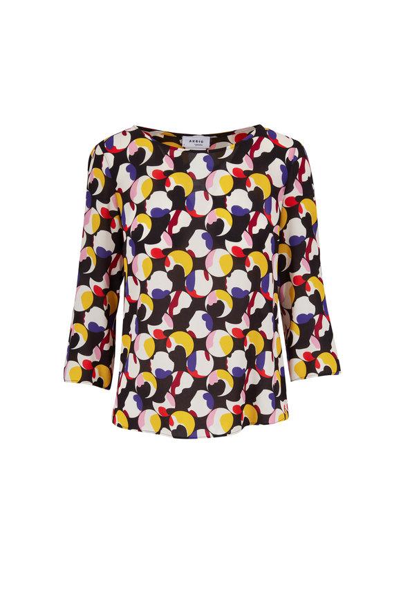 Akris Punto Multicolor Floating Dot Print A-Line Blouse