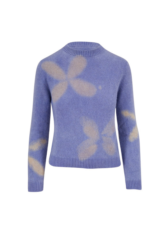 The Elder Statesman Clamp Flower Light Blue & White Crop Sweater