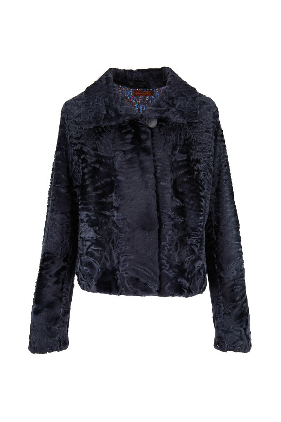 Viktoria Stass Swakara Charcoal Shearling Jacket