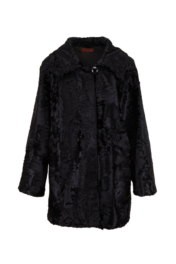 Viktoria Stass Swakara Black Shearling Coat