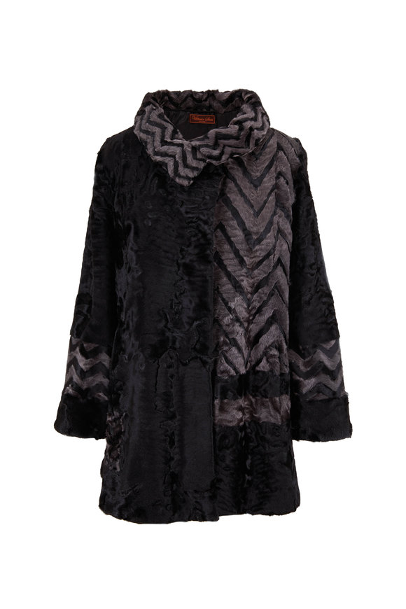 Viktoria Stass Shevron Swakara Gray & Black Shearling Coat