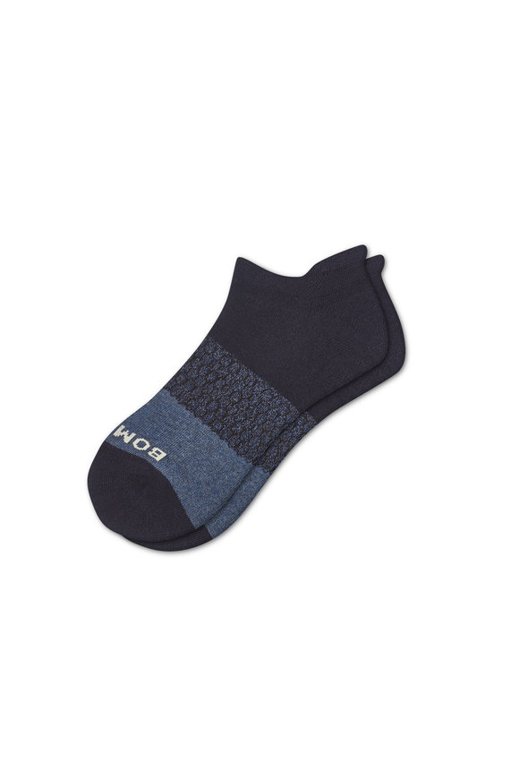 Bombas Men's Tri Block Triple Navy Ankle Socks