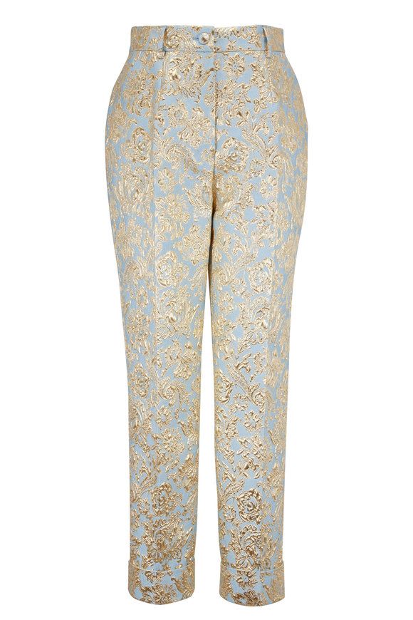 Dolce & Gabbana Blue Lamé Jacquard Pants