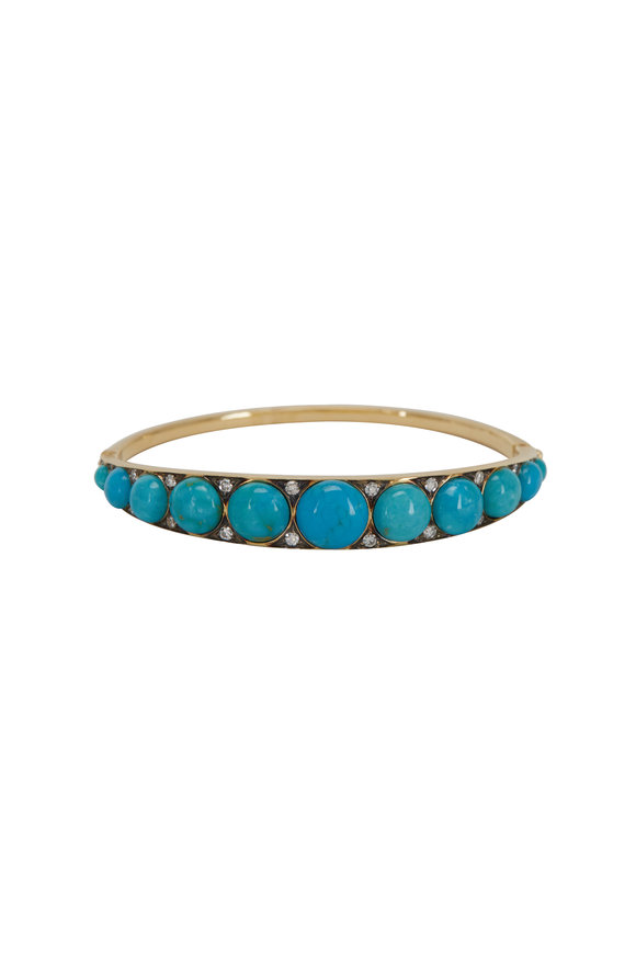 Sylva & Cie 18K Yellow Gold Turquoise Button Cuff