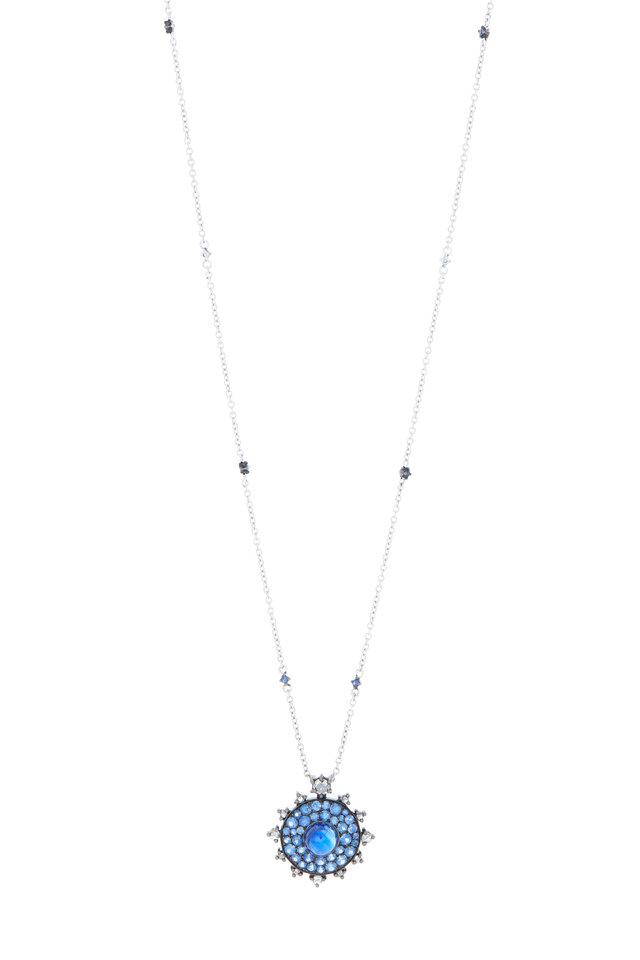 18K White Gold Kyanite & Sapphire Pendant Necklace