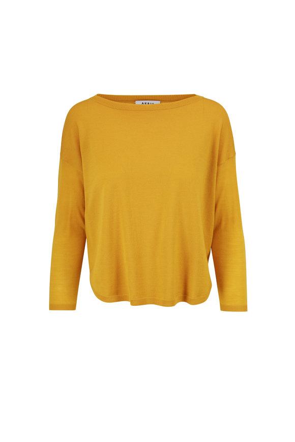 Akris Punto Yellow Wool Knit Pullover