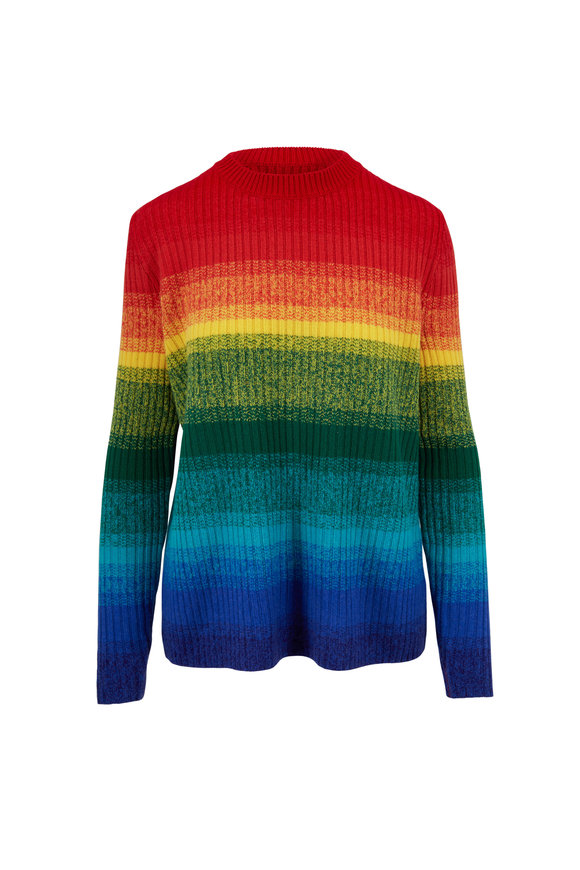 The Elder Statesman Rainbow Striped Relaxed Crewneck Sweater
