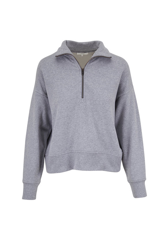 Vince Grey Soft Brushed Terry Zip Pullover