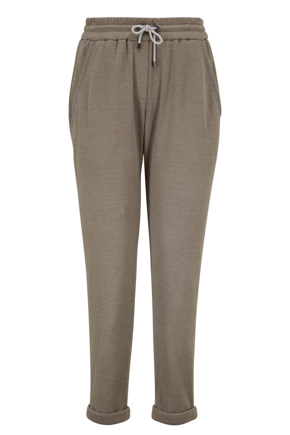 Brunello Cucinelli Military Cotton & Silk Drawstring Spa Pant