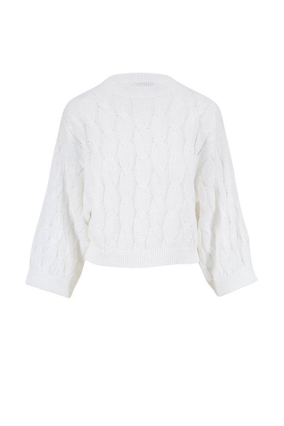 Brunello Cucinelli White Cable Knit Paillette Crewneck Sweater