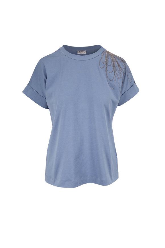 Brunello Cucinelli Pale Blue Cotton Monili Flower T-Shirt