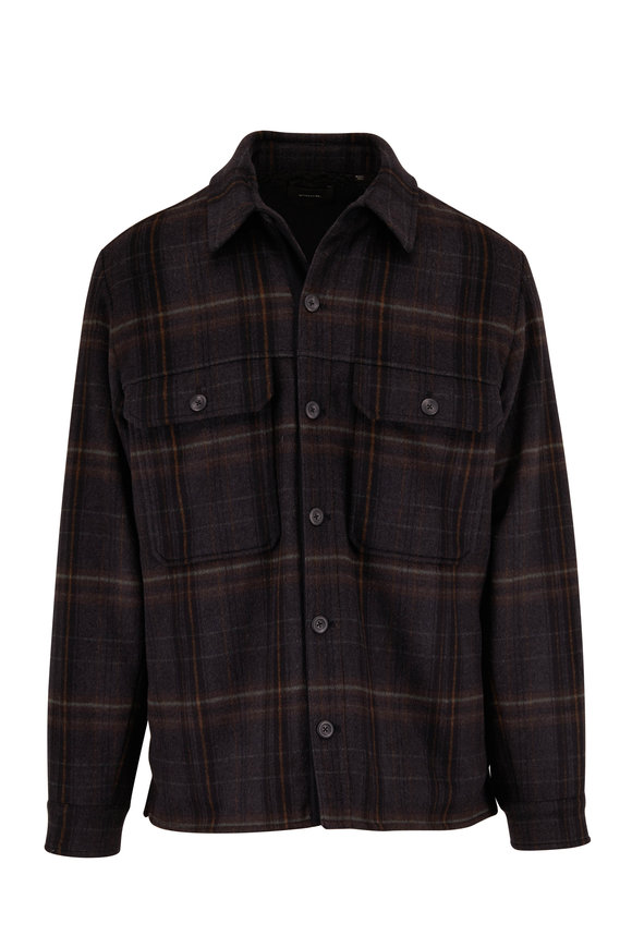 Vince Black Plaid Sherpa Utility Jacket