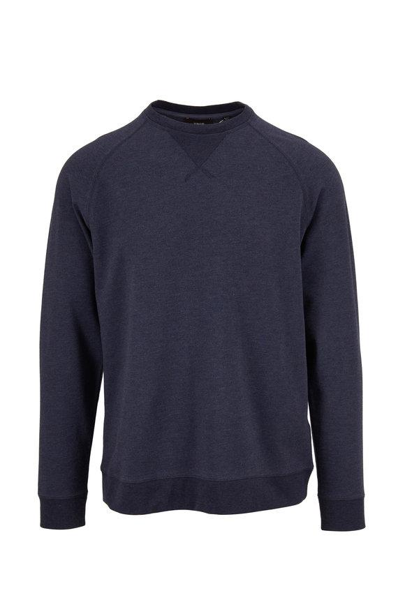 Vince Costal Blue Twill Crewneck Sweater