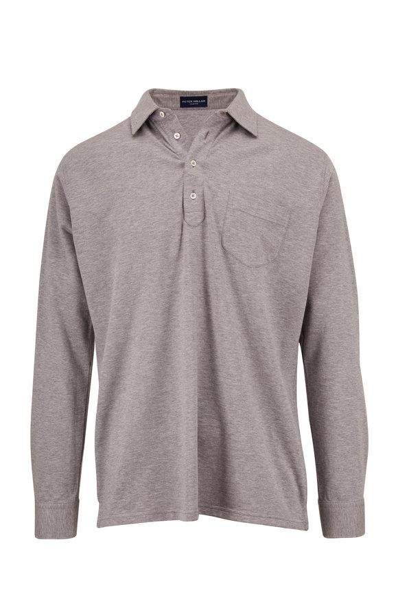 Peter Millar Avon Gray Cotton & Silk Long Sleeve Polo